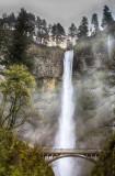 22.  Multnomah Falls, falling 627' in two drops.  See http://www.bergiesplace.com/Misc/multnomah.jpg