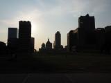 Sunsetm behind the buildings in St. Louis