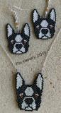 Boston Terrier Earrings & Pendant set