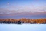 Setting moon at sunrise