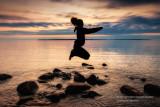 Jumping - Lake Superior shore
