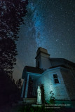 Milky Way and little Church, with statue