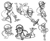 Penelope Pitstop rough character sketches