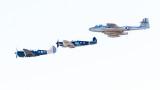 Kittyhawk, Spitfire & Meteor Formation Flight