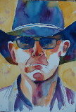 Cowboy Bob - watercolor, 11 x 15. This painting was done during a class from Dave Lobenberg called California Vibe.