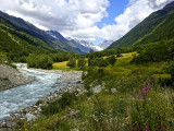 Swiftly flowing glacial rivers.