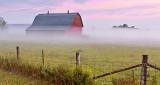 Barn In Ground Fog At Sunrise P1230256-8