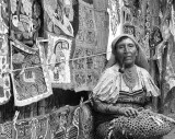 San Blas Pipe Smoking Kuna Woman 2407v2BW