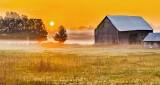 Old Barn In Foggy Sunrise P1250598-604