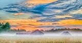Barns In Sunrise Ground Fog P1320138-40