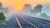 Railway Tracks Into Fog At Sunrise P1340245-9