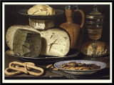 Still Life with Cheeses, Almonds and Pretzels, 1615