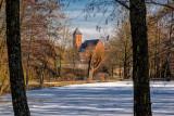 Frozen Village Pond  and  Church