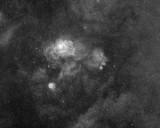 The Lagoon and Trifid Nebula in Ha widefield