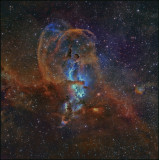 NGC 3576 - Hubble color mapped