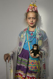 Little Frida with cane and monkey