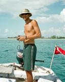 Researcher in boat