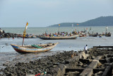 Pirogue harbor at the western tip of Conakry