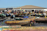 Fish market next to the pirogue harbor, Conakry