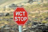 Bilingual stop sign, Tajikistan