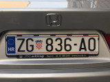 Croatian EU License Plate