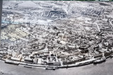 Old aerial view of the walled city and quays