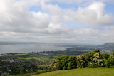 View from the hilltop Knockagh Monument to the city of Belfast