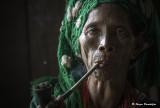 Tattooed smoker woman