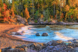 71.62 - Temperance River Mouth In Sunrise Autumn Colors