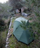 Feb 2017 Mallorca GR221 - Camp above Deia next to an old shepherd's hut