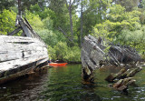 June 18 Loch Ness kayak past some boat hulks