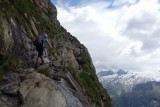 Another steep climb from the Berliner Hutte with cables to help