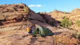 Oct 2018 Utah - Camp on rock above the floor of Harris Wash
