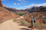 Leaving Rockville on a dirt road to the $WD trailhead for Eagle Crags