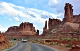 Three Gossips and Courthouse Towers  in Arches National Park Moab Utah 1237