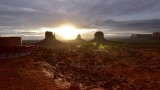 Sunrise at Monument Valley with West and East Mittens and Merrick Butte Arizona 010