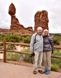 Charlie and Nancy at Balance Rock in Arches National Park Utah 321