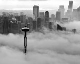 Space Needle downtown Seattle Foggy Morning Seattle 174bw