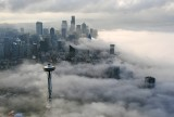 Space Needle Foggy Morning in Seattle Skyline Washington 186