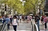 Busy La Rambla by Placa de Catalunya Barcelona 410