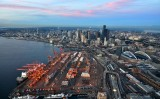 Seattle Port of Seattle Seahawks Stadium Alaskan Viaduct Space Needle Mt Baker Washington 387