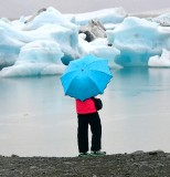 Tourists and icebergs at  Jökulsárlón glacial lagoon, Iceland 1150