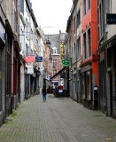 Walking down narrow street in Namur, Belgium 136