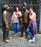 Katherine and Kirsten with Tunnes and Schal statues, Koln Germany 149