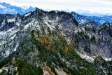 fresh snow on fall foliages in Cascade Mountains, Washington 087