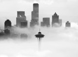 Space Needle, Center of Attention, Downtown Seattle above Fog, Washington 298b