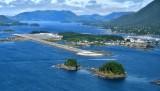 Base to final to runway 29 at Sitka Airport PASI, Alaska 046