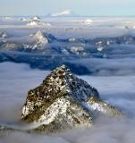Mt Baker and Peaks across Cascade Mountains, Washington State 497