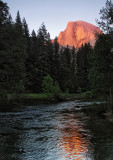 Half Dome upstream from Merced River, from Sentinel Bridge. 5/24/12, 7:45 PM.  #2593