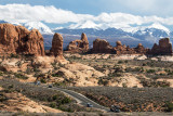 Arches National Park With The La Sal Mountains In The Background,  Utah